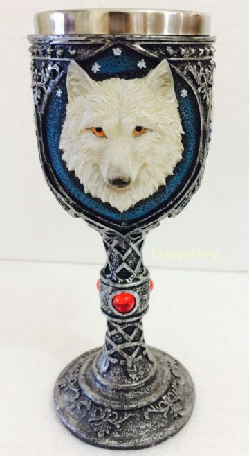 Mug Drinking GOBLET resin with stainless steel - WHITE WOLF HEAD WOLF28